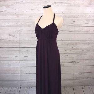 Express Solid Dark Purple Maxi Halter Dress XS